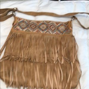 BetsyVille shoulder purse with fringe and sequence